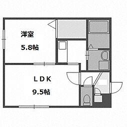 北海道札幌市豊平区水車町6丁目の賃貸マンションの間取り