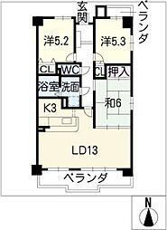 ユーハウス第2小幡 5B[5階]の間取り
