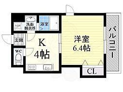 下新庄2番館 5階1Kの間取り