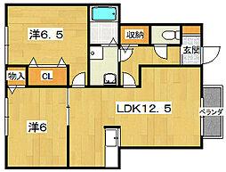 アルカザーレFuji[1階]の間取り