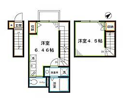 JR総武線 東中野駅 徒歩11分の賃貸アパート 3階1LDKの間取り