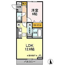 Lupinus A棟 3階1LDKの間取り