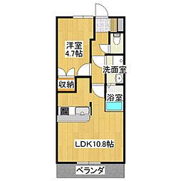 茨城県つくばみらい市富士見ヶ丘2丁目の賃貸アパートの間取り