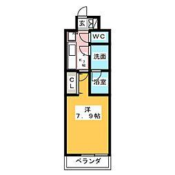 CREVISTA練馬桜台II 4階1Kの間取り