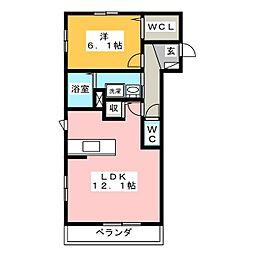 ディアーコート II[1階]の間取り
