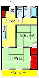 都営三田線 板橋区役所前駅 徒歩6分の賃貸マンション 4階2DKの間取り