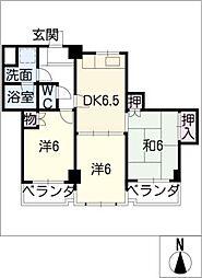 中日マンション千代田[2階]の間取り