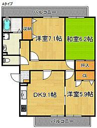 コスモコート岸豊A・B[3階]の間取り