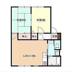 熊本県熊本市南区出仲間5丁目の賃貸アパートの間取り