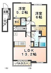 滋賀県大津市仰木の里3丁目の賃貸アパートの間取り