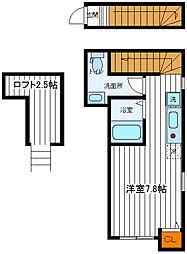 JR中央線 立川駅 徒歩12分の賃貸アパート 2階ワンルームの間取り