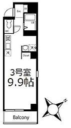 ブリティッシュクラブ鶴見 4階ワンルームの間取り