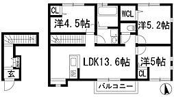 Radis甲東園B棟[2階]の間取り