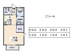 ラフィネド・メゾン 2階ワンルームの間取り