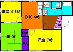 静岡県浜松市中区萩丘3丁目の賃貸アパートの間取り