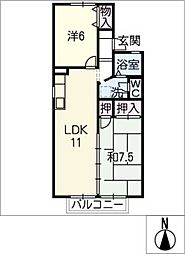 セジュール芝D[2階]の間取り