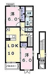 宮崎県宮崎市大塚町の賃貸アパートの間取り