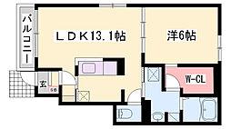 JR播但線 福崎駅 徒歩13分の賃貸アパート 1階1LDKの間取り
