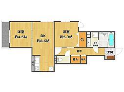 (仮称)南武庫之荘4丁目D-room[203号室]の間取り