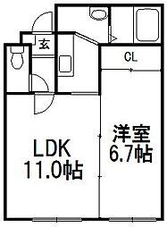 北海道札幌市豊平区美園三条4丁目の賃貸マンションの間取り