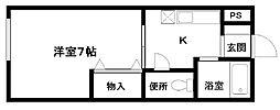ワンルーム喜田[38号室]の間取り