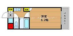 JR山陽本線 岡山駅 3.5kmの賃貸マンション 2階1Kの間取り