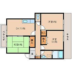 奈良県橿原市新賀町の賃貸アパートの間取り