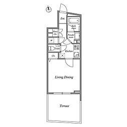 JR山手線 目黒駅 徒歩10分の賃貸マンション 1階1Kの間取り