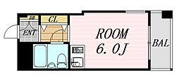 ファインクレスト・江坂 4階ワンルームの間取り