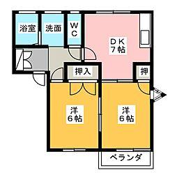 フレグランスラミB[2階]の間取り