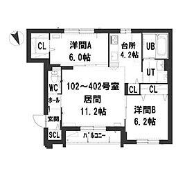 仮)グランメール本町1−9[2階]の間取り