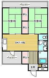 パークハイム住之江[601号室]の間取り