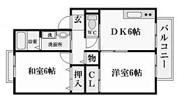 兵庫県西宮市産所町の賃貸アパートの間取り