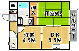 JR山陽本線 明石駅 徒歩8分の賃貸アパート 1階2DKの間取り