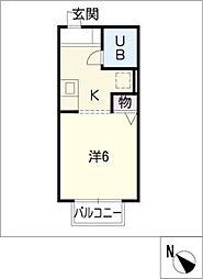 ハイツアイカ乙輪[2階]の間取り