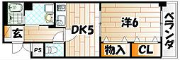 福岡県北九州市八幡西区則松1の賃貸マンションの間取り