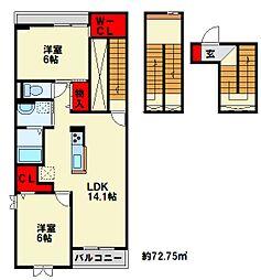 プレミアムガーデン I 3階2LDKの間取り
