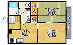 兵庫県宝塚市亀井町の賃貸アパートの間取り