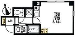 (ハーミットクラブハウスシリーズ)ブリティッシュクラブ宮川町 1階ワンルームの間取り