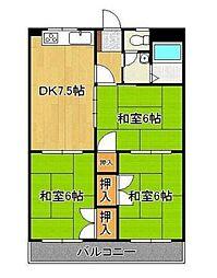 福岡県北九州市小倉南区中曽根1丁目の賃貸マンションの間取り