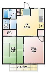 シティハイツ三沢[201号室]の間取り