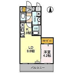 近鉄長野線 喜志駅 徒歩1分の賃貸アパート 1階1LDKの間取り