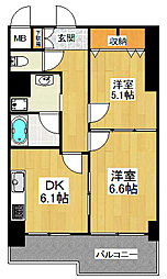 東京都狛江市中和泉2丁目の賃貸マンションの間取り
