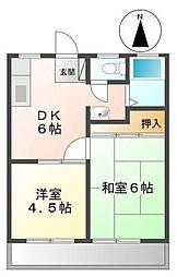 カマダハイツA・B[A205号室]の間取り