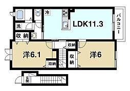 グランソレイユ 2階2LDKの間取り