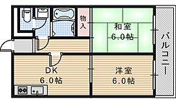 グロー駒川中野[703号室]の間取り
