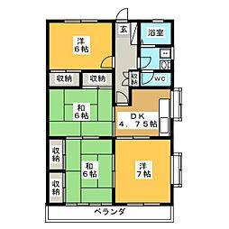 サンフルA[1階]の間取り