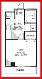 東京都台東区上野桜木2丁目の賃貸マンションの間取り