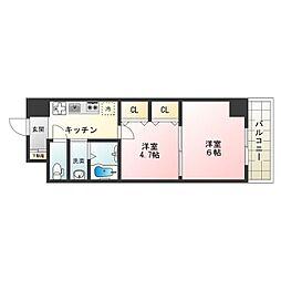 南海線 天下茶屋駅 徒歩8分の賃貸マンション 5階1DKの間取り