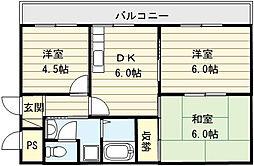 大阪府大阪市生野区田島4丁目の賃貸マンションの間取り